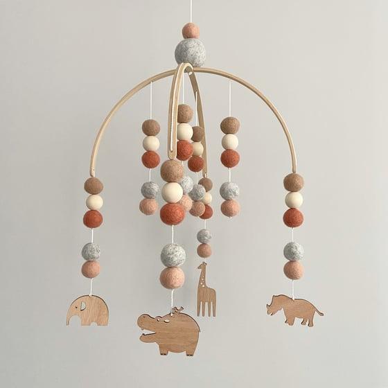 Image of Safari animal felt ball mobile - tan, rust, grey & apricot