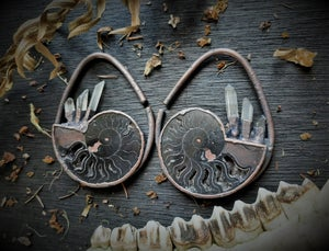 Image of Electroplated Ammonite and Crystal Ear Weights
