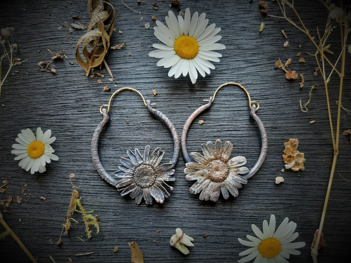 Image of Electroplated Single Daisy Hoops 2