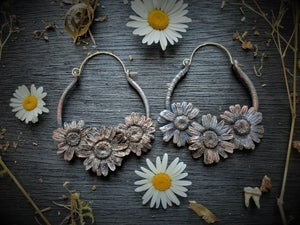 Image of Electroplated Triple Daisy Hoops