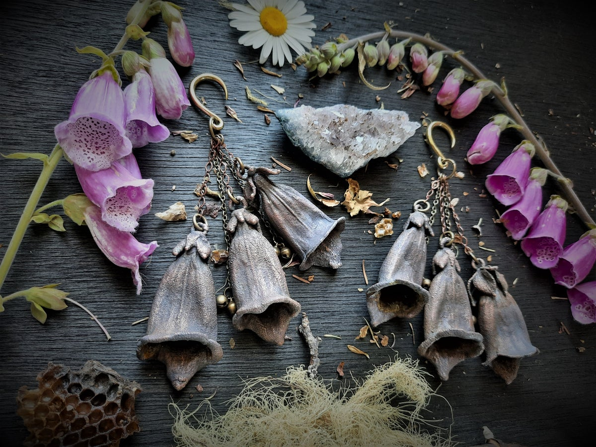 Image of Electroplated Foxglove Ear Weights with Bells