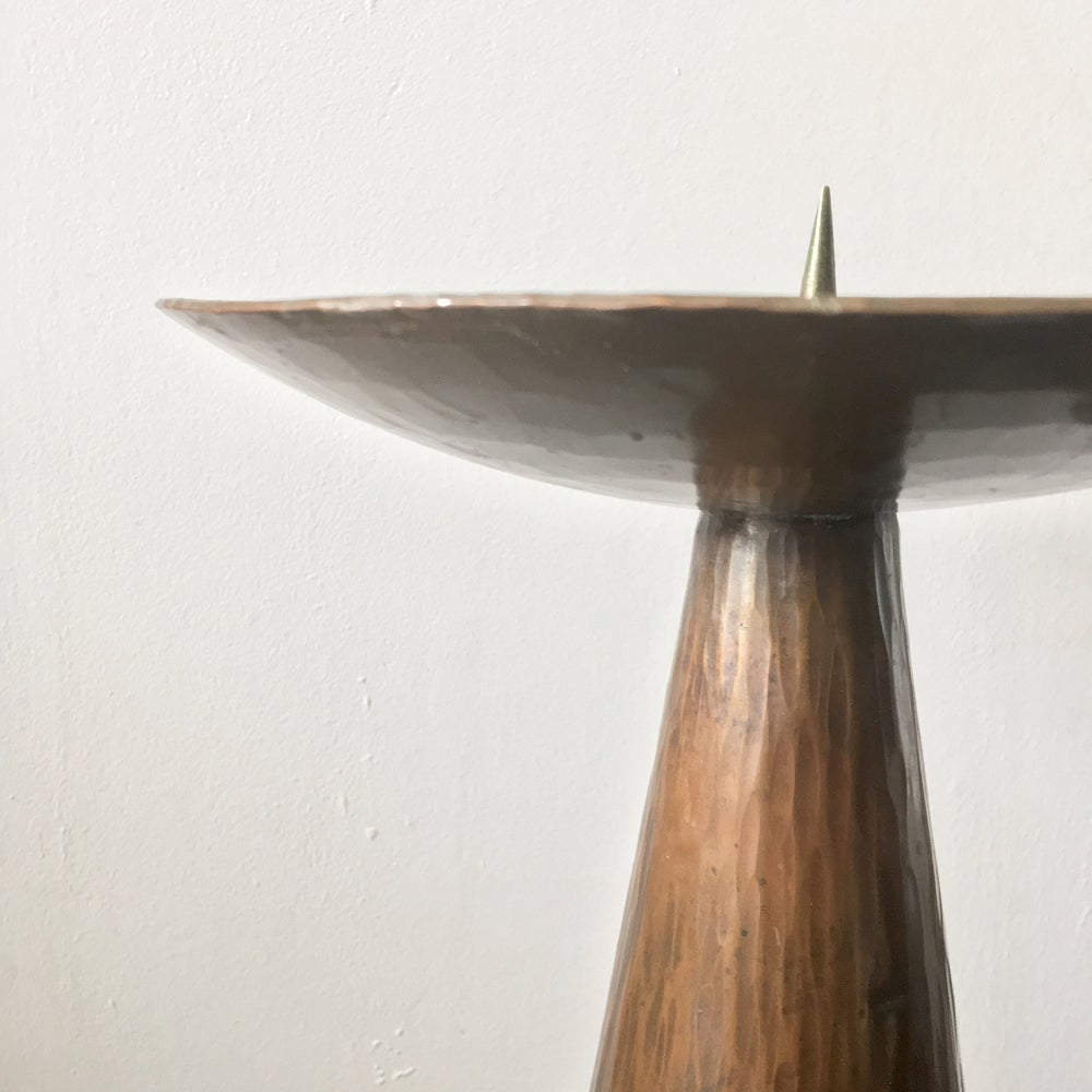 """Image of 18"""" Candleholder of Hammered Copper, Mid-20th Century, Germany"""