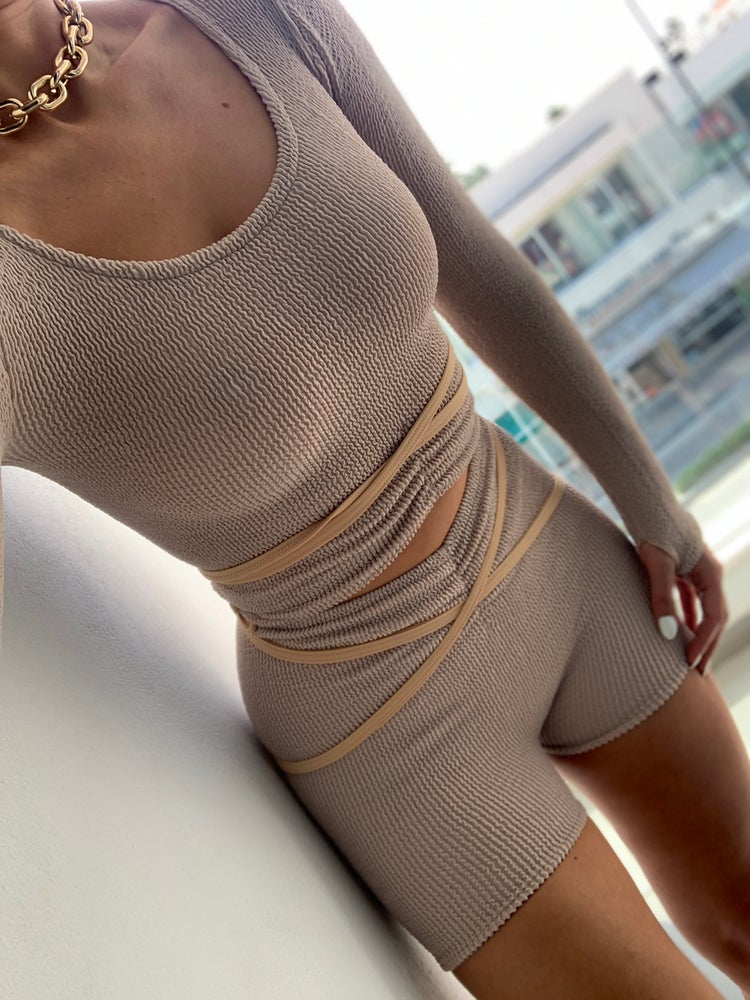 Image of Nude Strappy Ruch Shorts