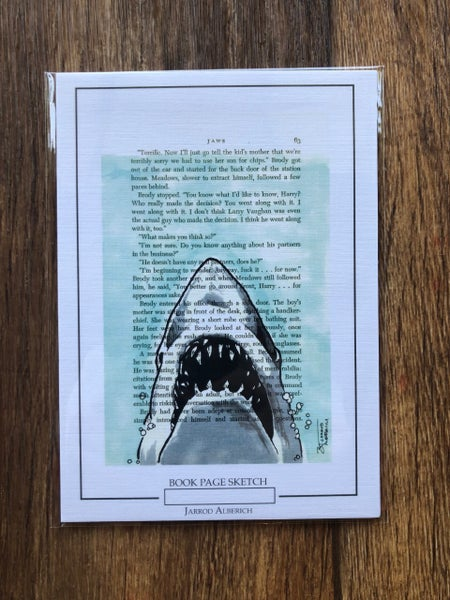 Image of Jaws Shark - Book Page Sketch - 5x7 Print