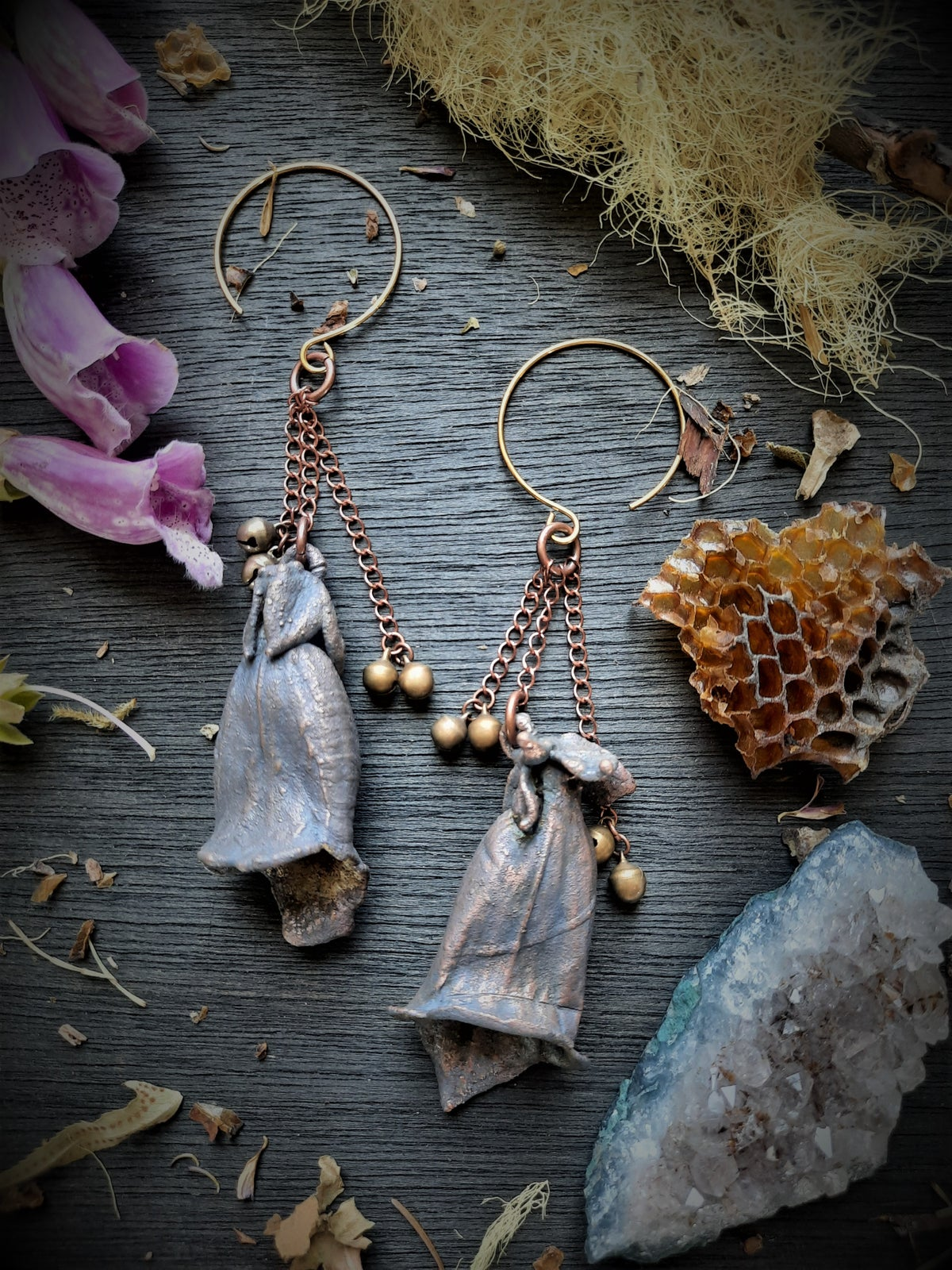 Image of Electroplated Foxglove Earrings