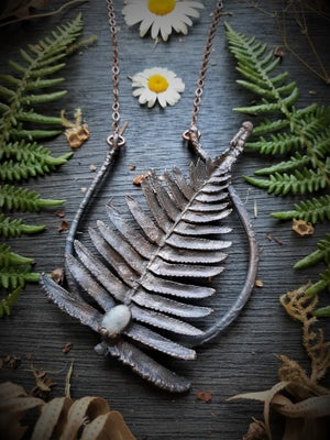 Image of Electroplated Fern and Moonstone Necklace