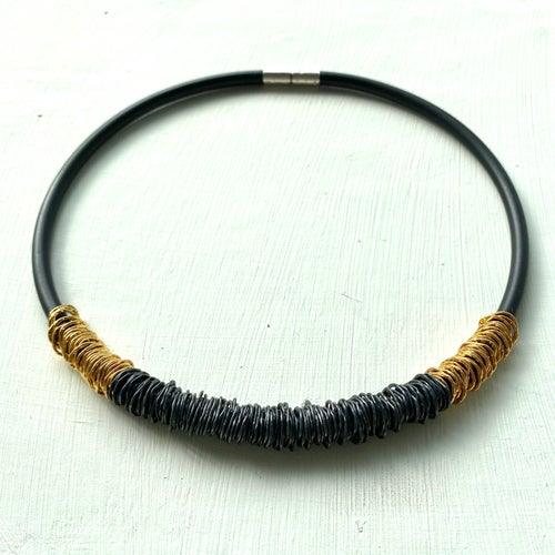 Image of Afiok rubber necklace- two tone black & gold