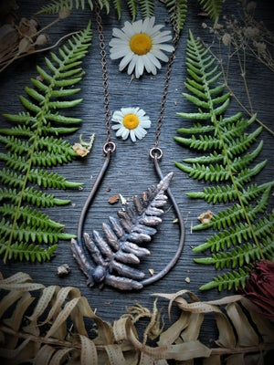 Image of Electroplated Fern with Amethyst Necklace