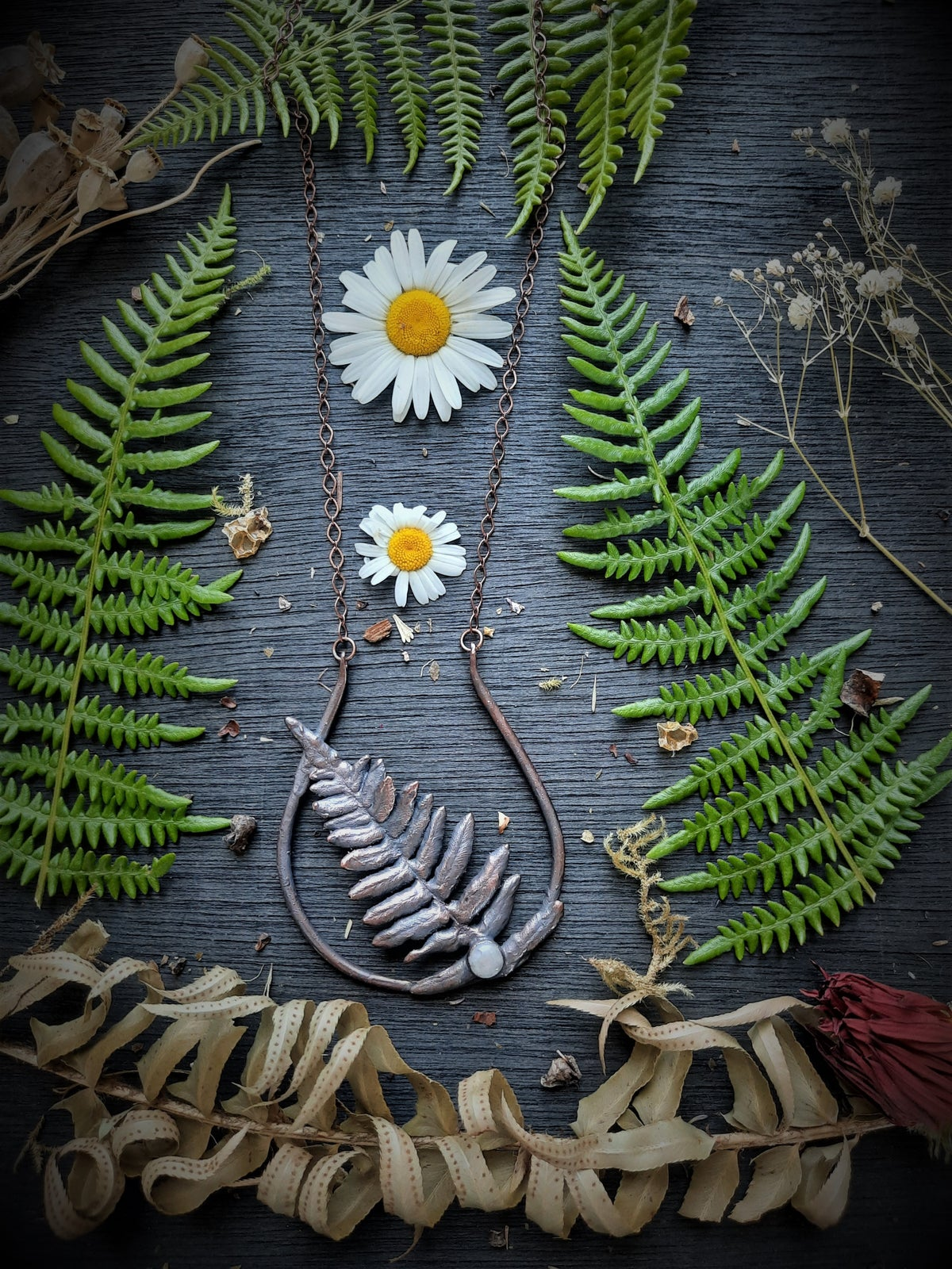 Image of Electroplated Ferns and Moonstone Necklace 1