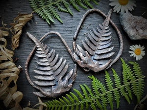 Image of Electroplated Ferns, Muskrat Jaws, and Labradorite Hoops Ear Weights
