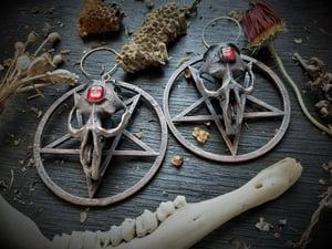 Image of Pentagram Muskrat Skull and Red Inverted Cross Earrings