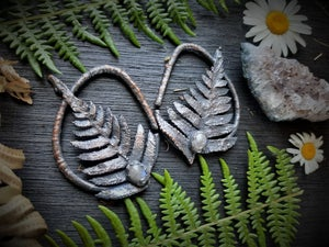 Image of Electroplated Ferns with Moonstone for Gauged Ears