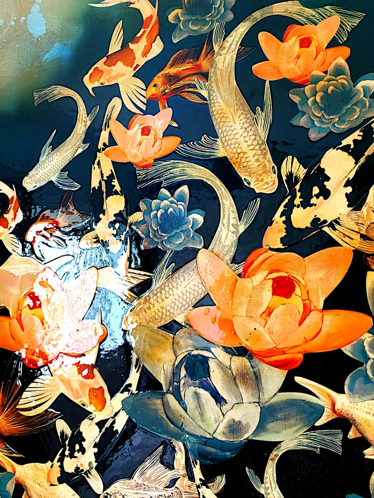 Image of Original Canvas - Koi and Lilies on Prussian Blue/Turquoise/Yellow Ochre - 100cm x 70cm