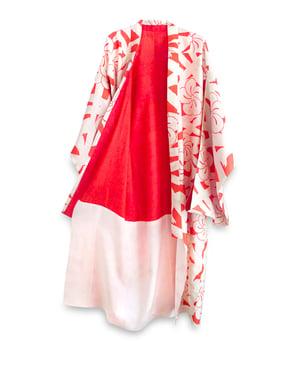 Image of Hvid silkekimono med røde blomster rosetter