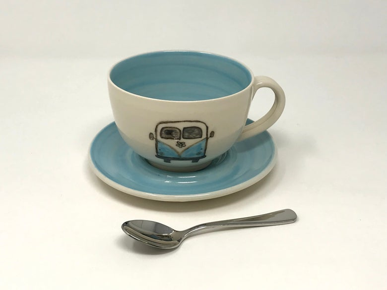 Image of Camper decorated Cup and Saucer