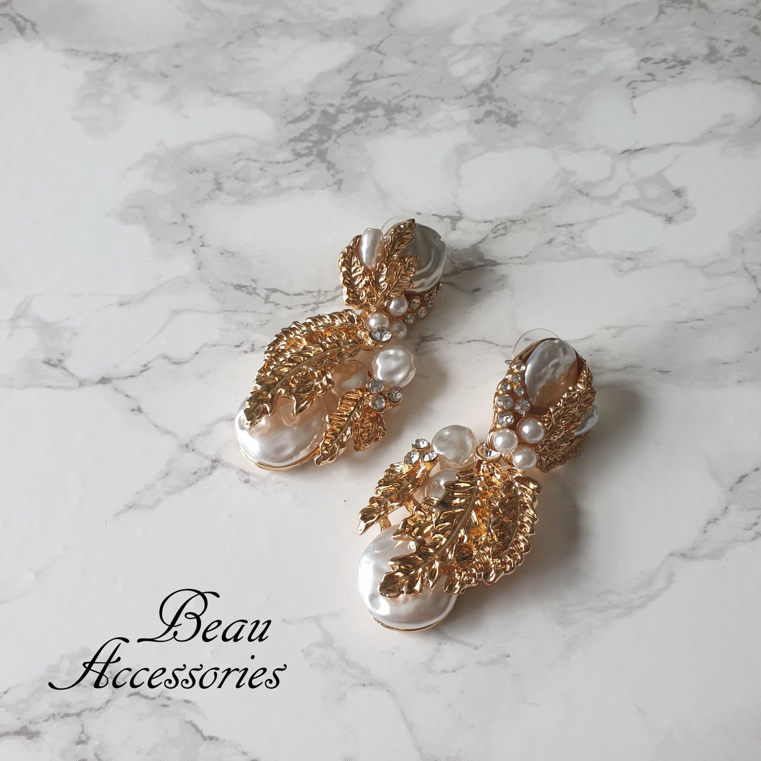Image of Golden Statement Earrings with Pearls