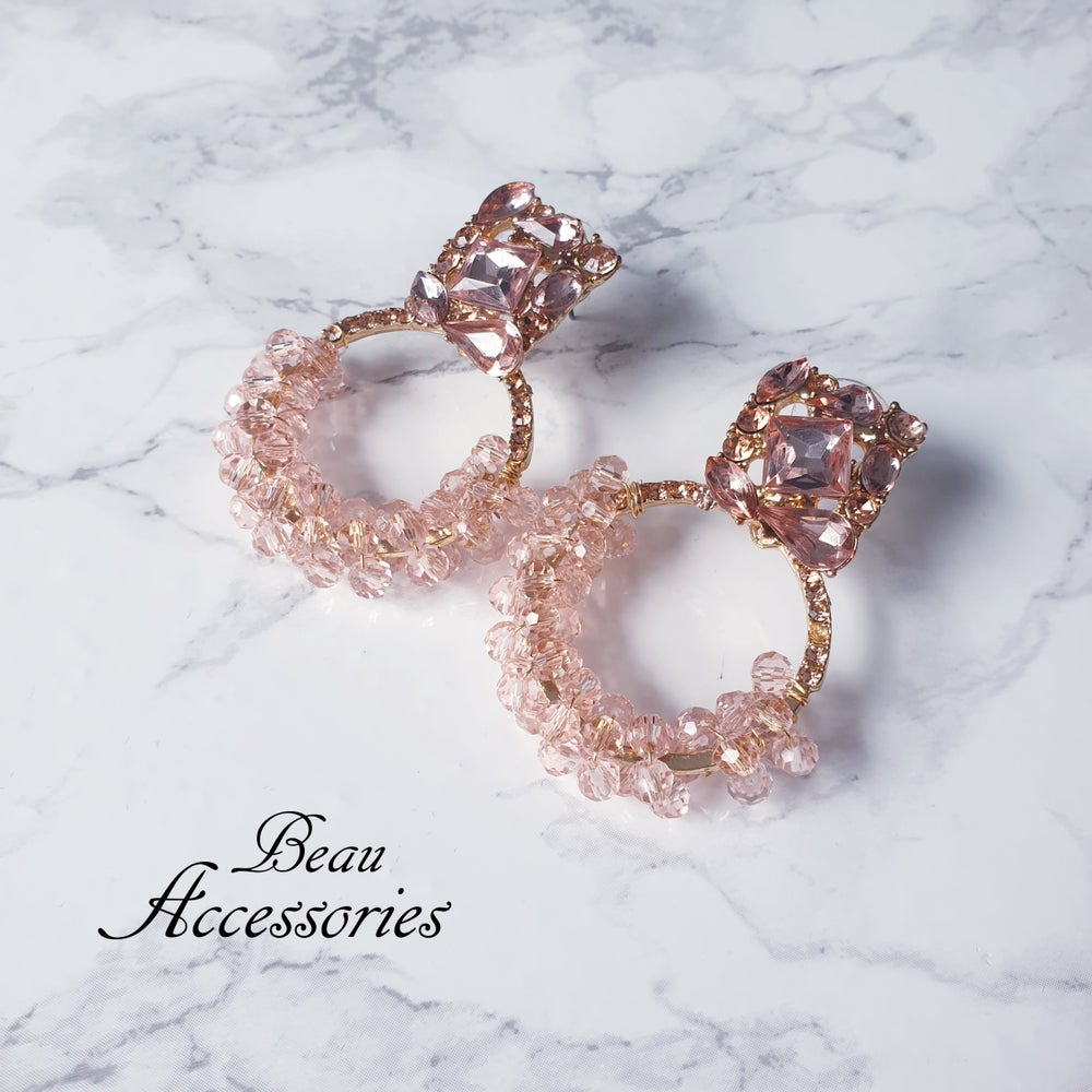 Image of Rose Gold Round Statement Earrings