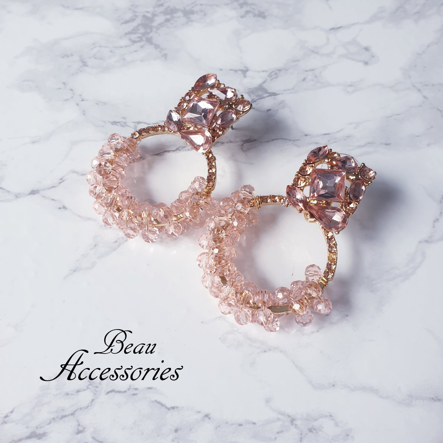Image of Baby Pink Round Statement Earrings