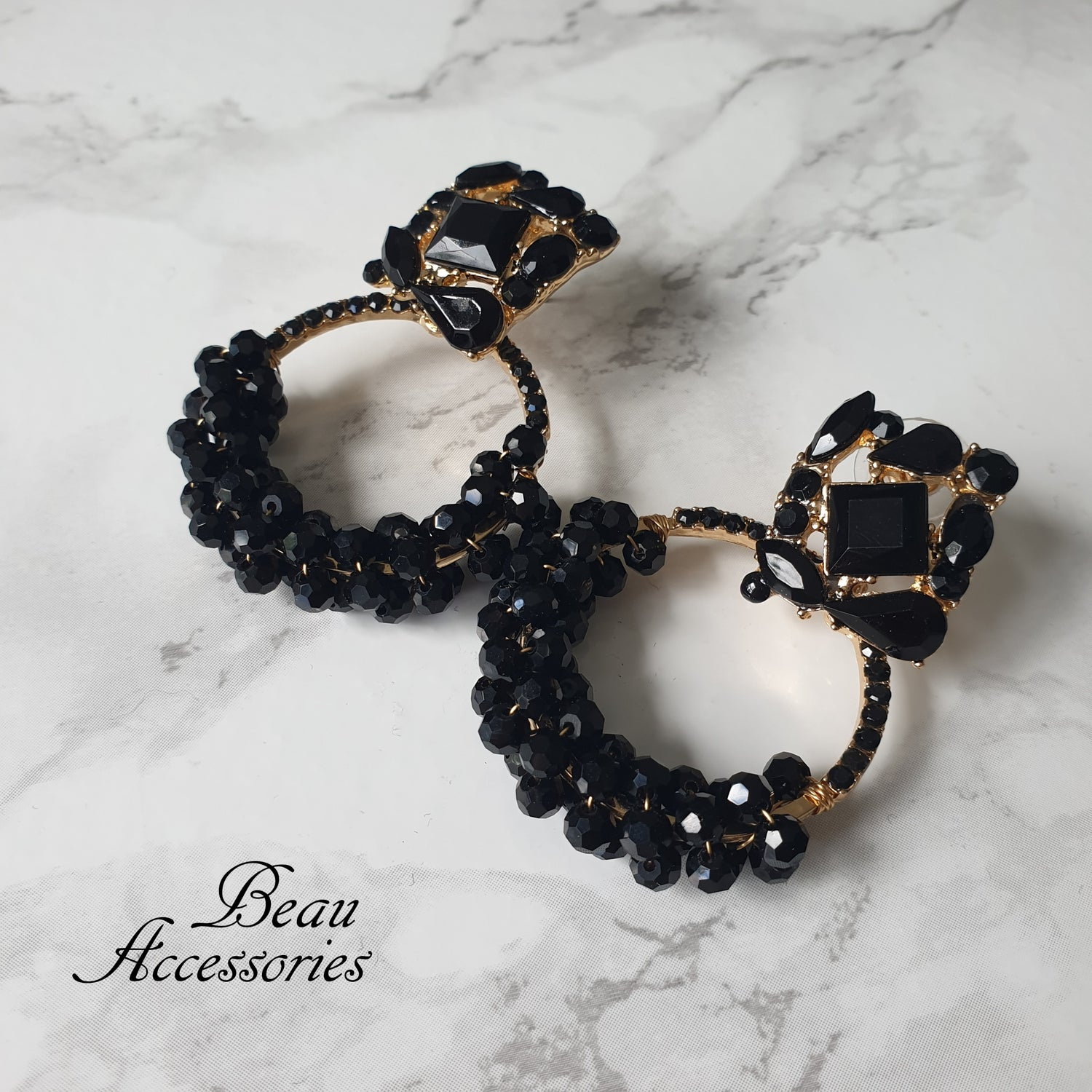 Image of Black Round Statement Earrings