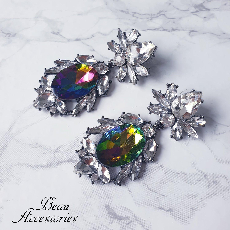 Image of Rainbow Ball Crystal Statement earrings