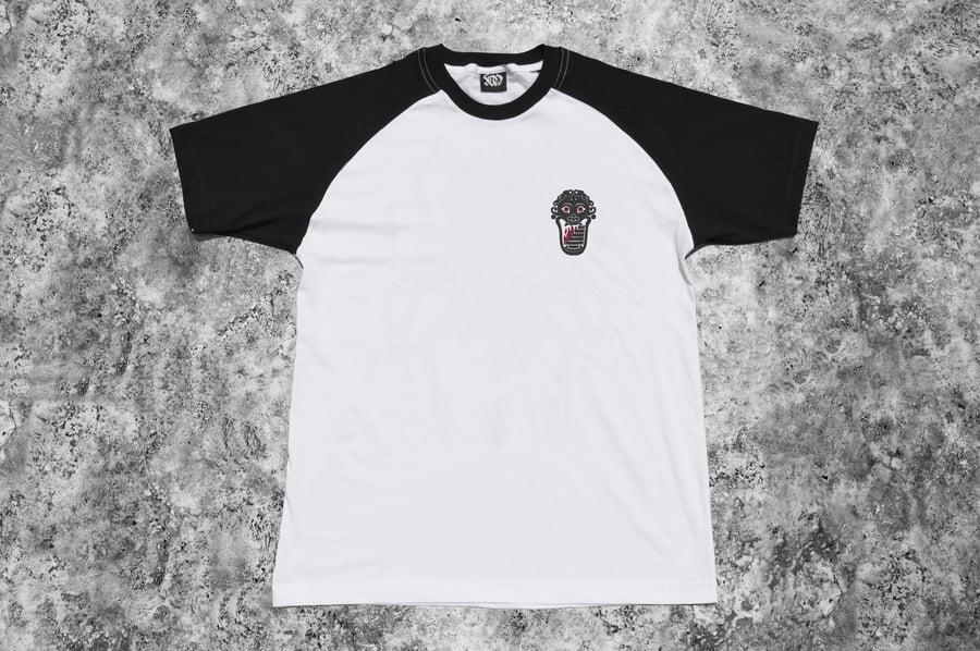 """Image of """"Welcome to Tartarus"""" White Raglan T-Shirt"""