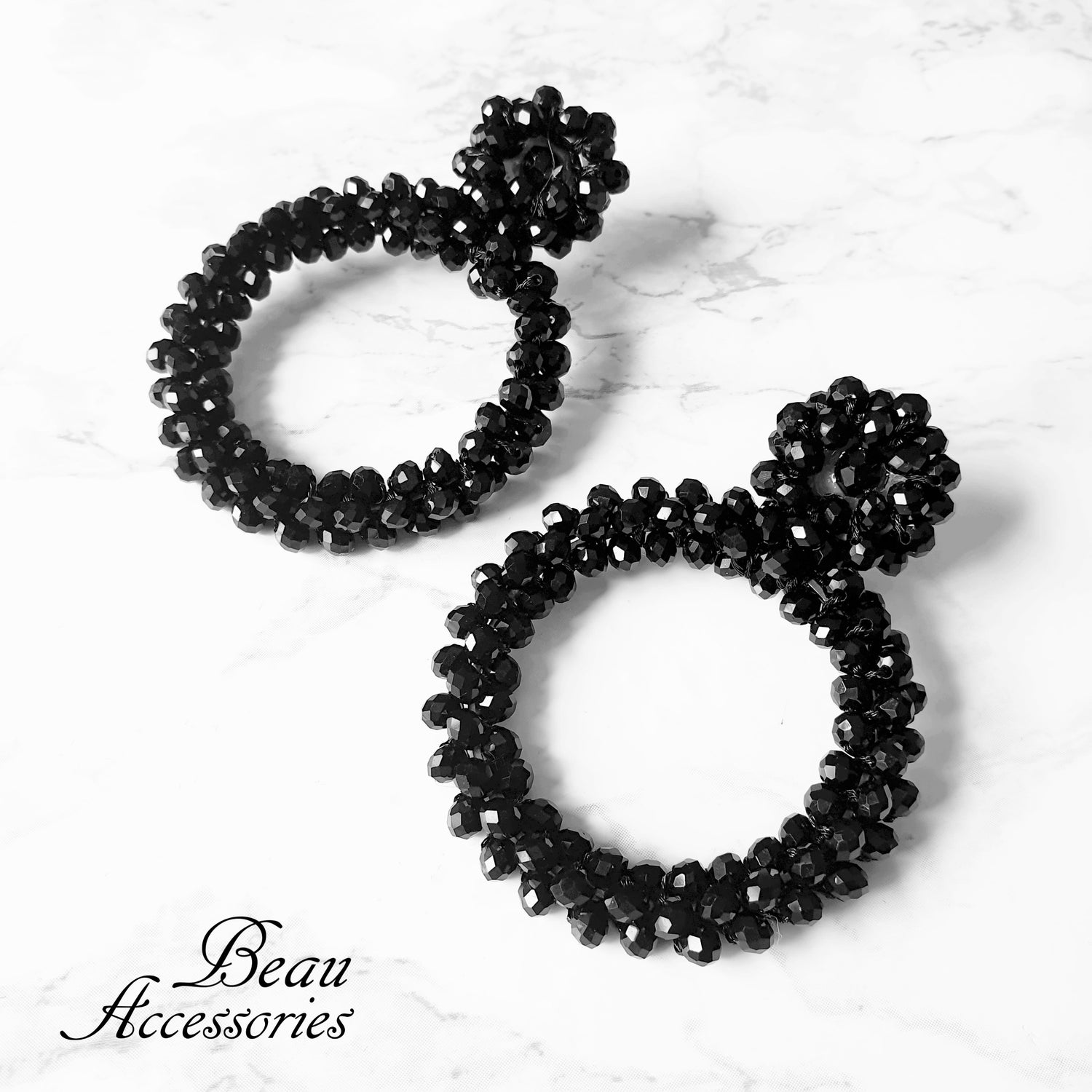 Image of All Black Beaded Statement Earrings