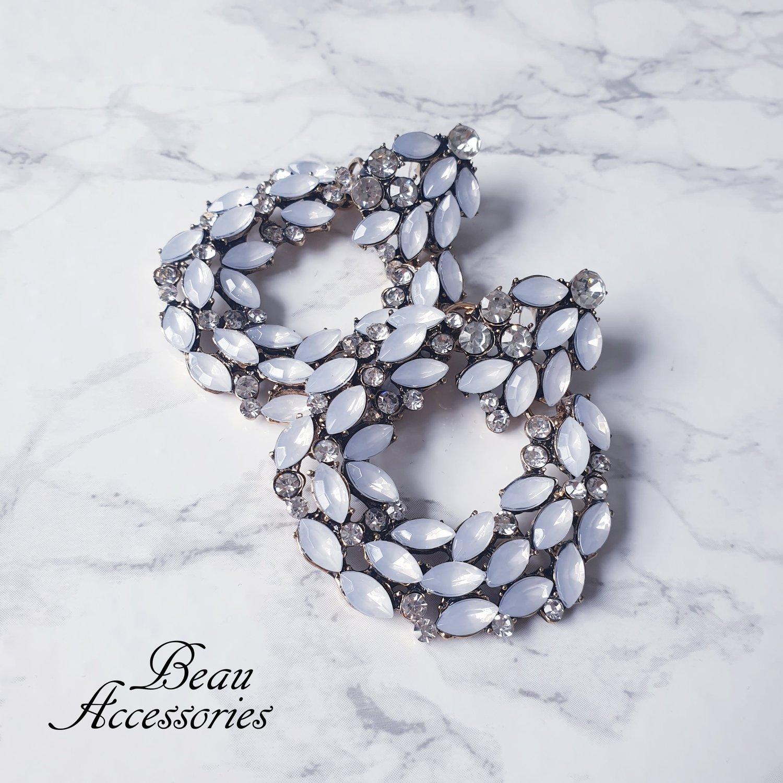 Image of All White Rhinestone Statement Earrings