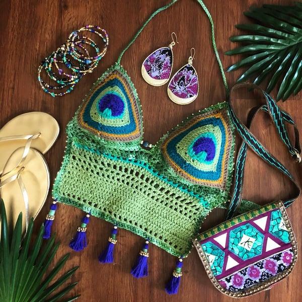 Image of  Peacock Dream -Crochet Halter