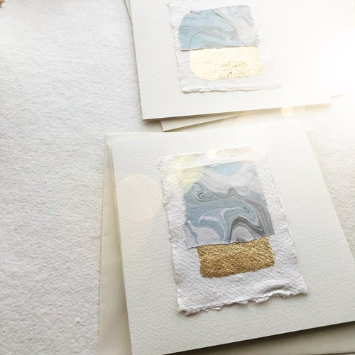 Image of Abstract Collage Cards in Blues and Gold Leaf