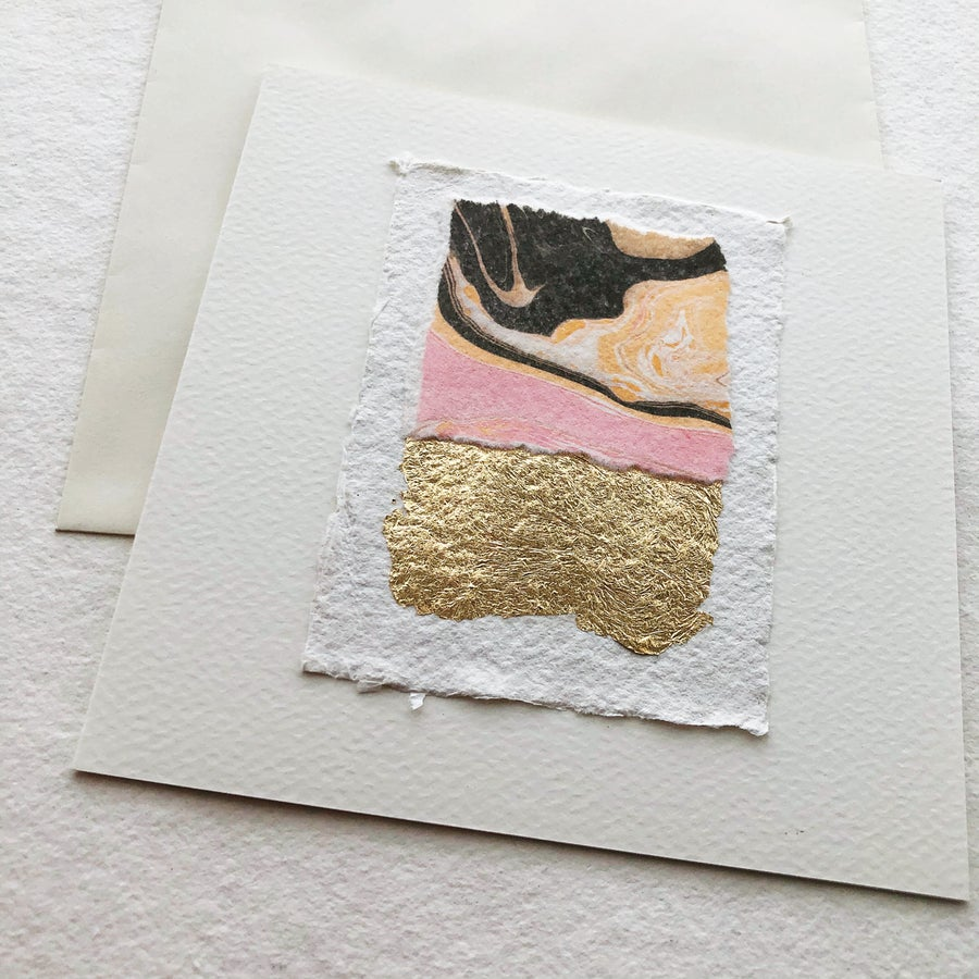 Image of Abstract Collage Cards in Pinks and Gold Leaf