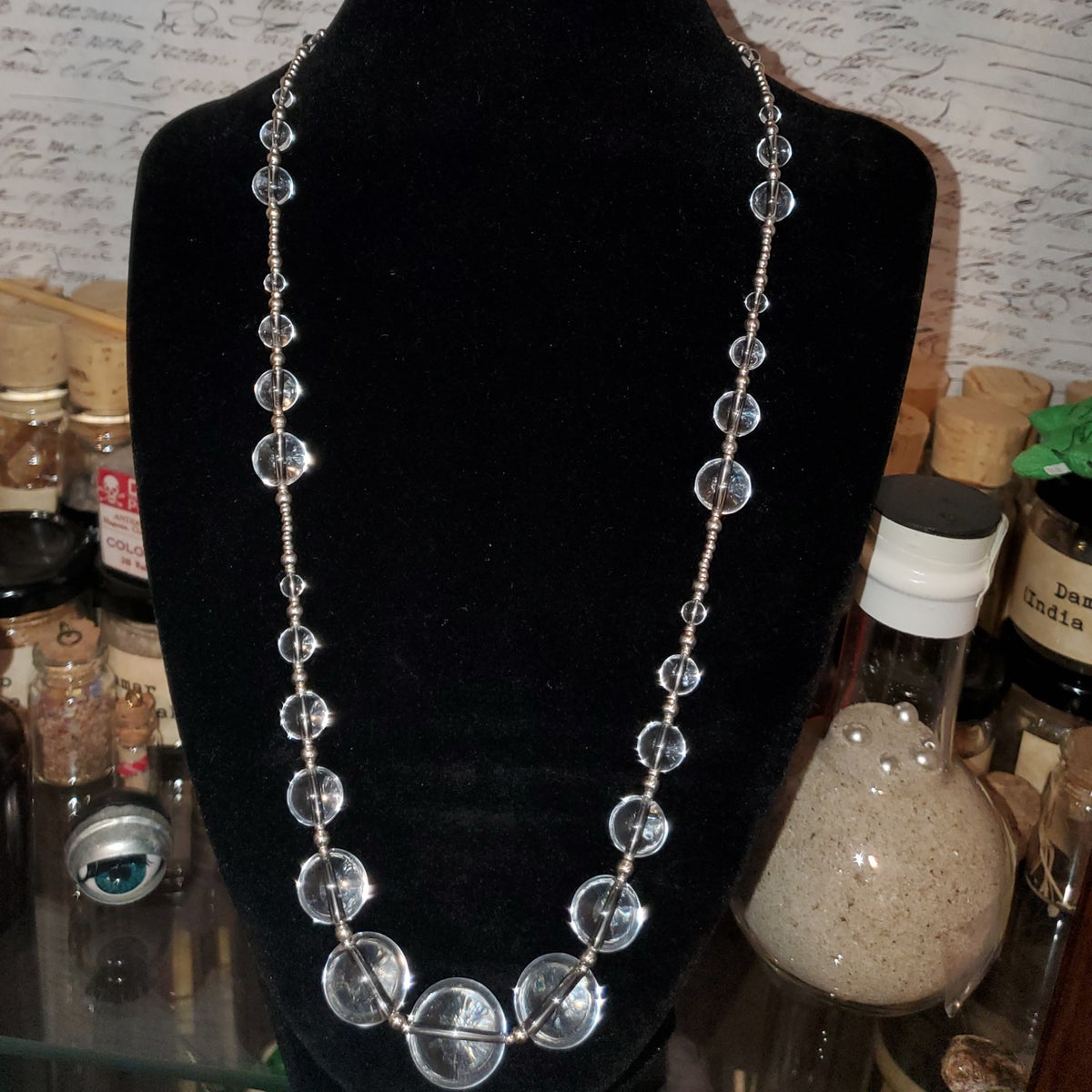 """Image of 27.5"""" rock crystal & sterling silver strand"""