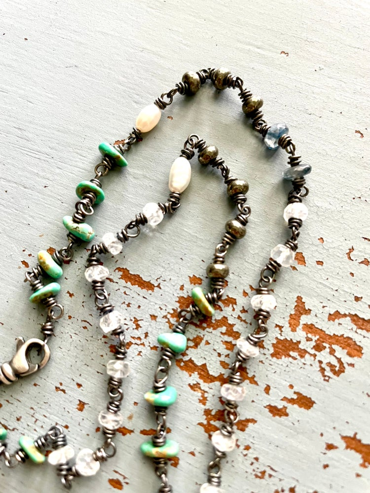 Image of moonstone and turquoise necklace