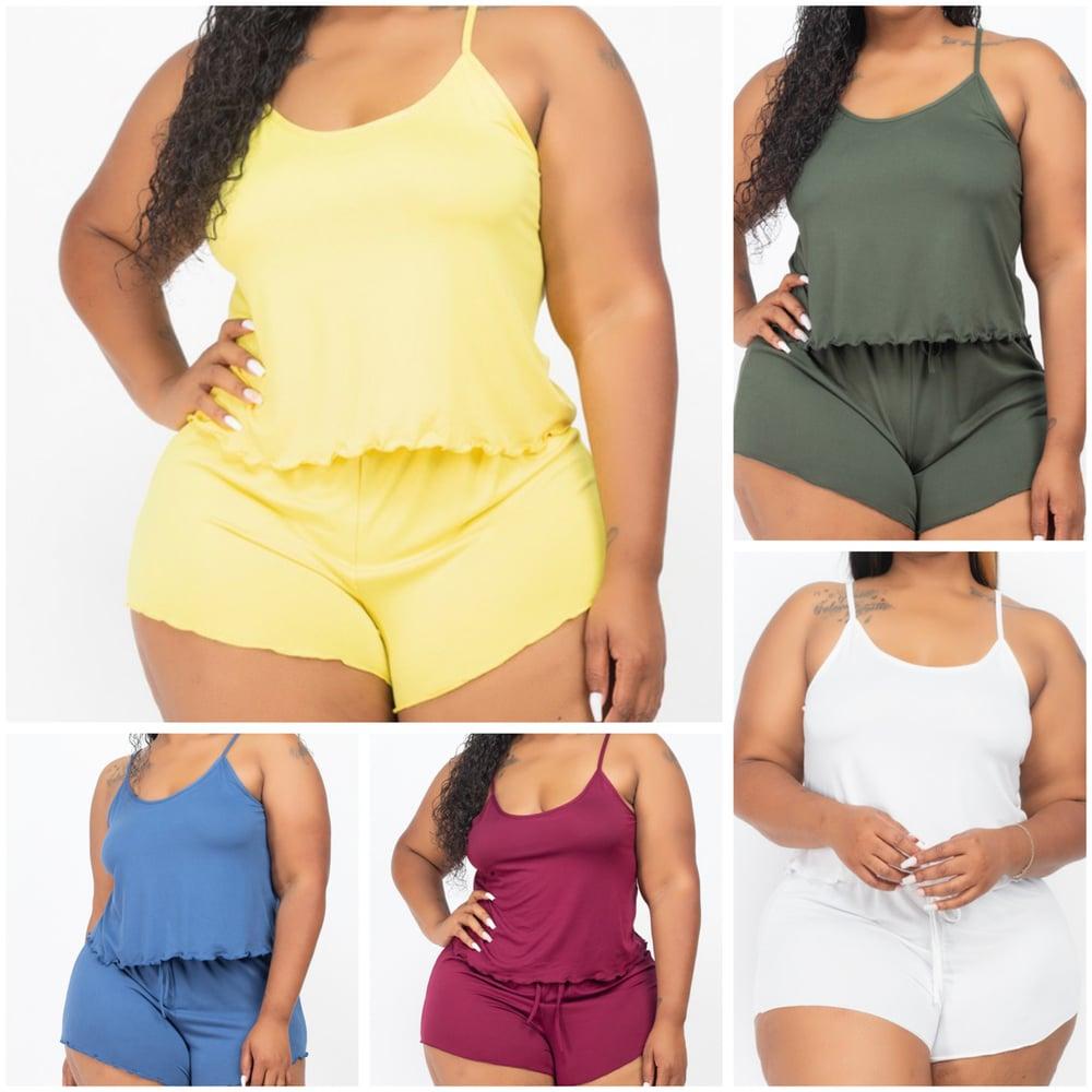 Image of #1152 Blue Plus Camisole Top&Shorts Set