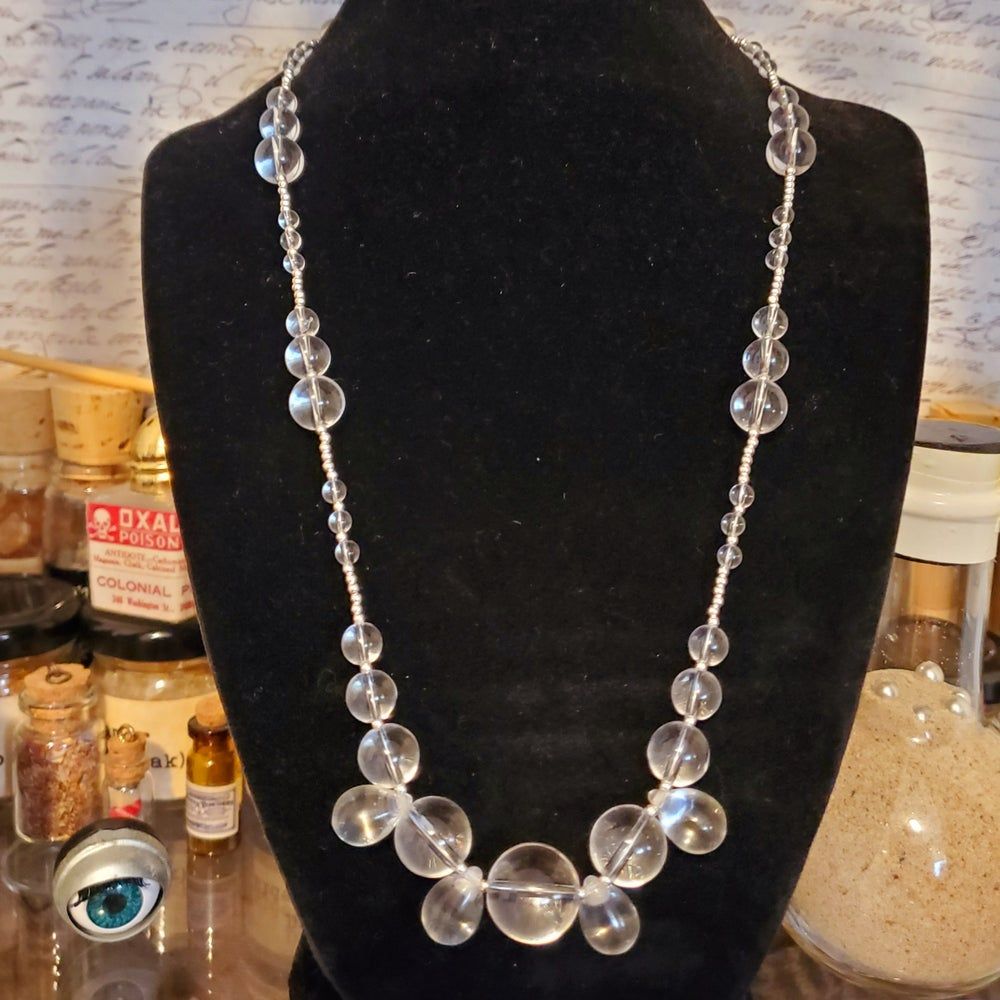 Image of sterling silver, rock crystal spheres, and antique rock crystal tears