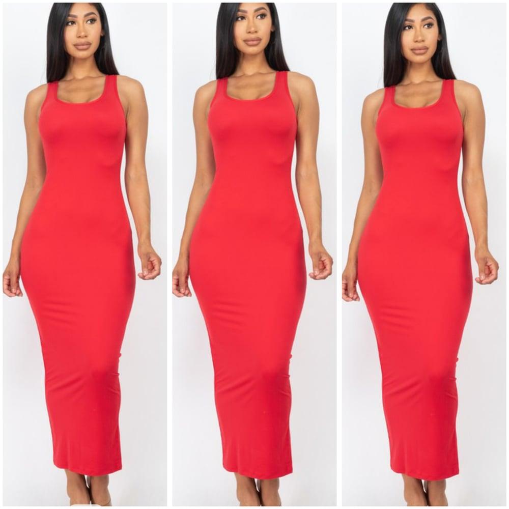 Image of #1153 Red Sleeveless Basic Maxi Dress