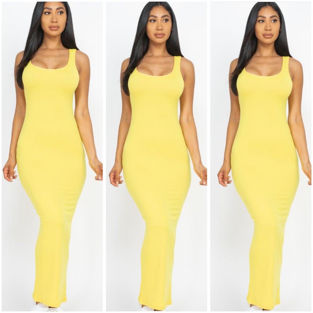 Image of #1154 Yellow Sleeveless Basic Maxi Dress