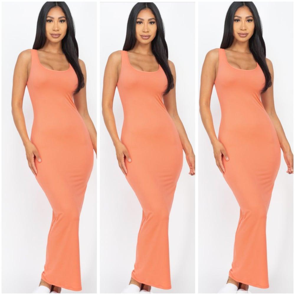 Image of #1156 Coral Sleeveless Basic Maxi Dress
