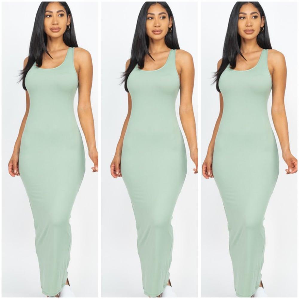 Image of #1157 Light Olive Sleeveless Basic Maxi Dress