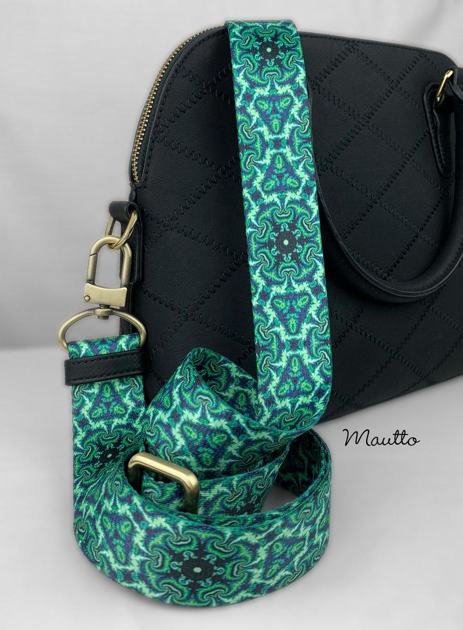"""Image of Emerald Kaleidoscope Bag Strap - 1.5"""" Wide Nylon - Adjustable Length - U Shape Style #16XLG Hooks"""