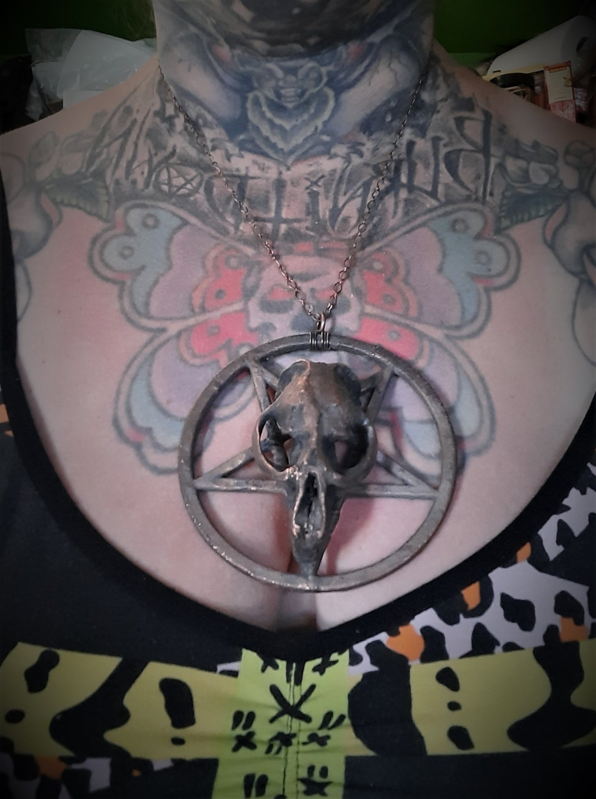 Image of Electroplated Muskrat Skull and Pentagram Necklace