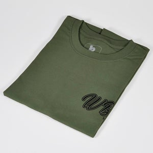 Image of  WBC 2021 Army Green T-Shirt with Black Chest and Extra Large Shoulder Print
