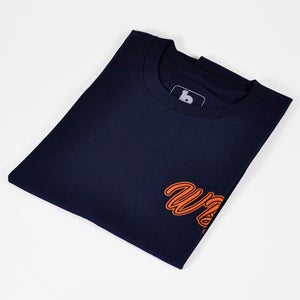 Image of WBC 2021 French Navy T-Shirt with Orange Chest and Extra Large Shoulder Print