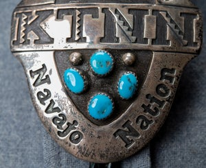 Image of The Voice of the Navajo Nation KTNN Am Radio Station 1980s Sterling Silver and Turquoise Bolo Tie