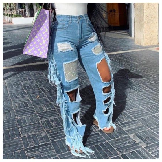 Image of Fringy Blingy Jeans