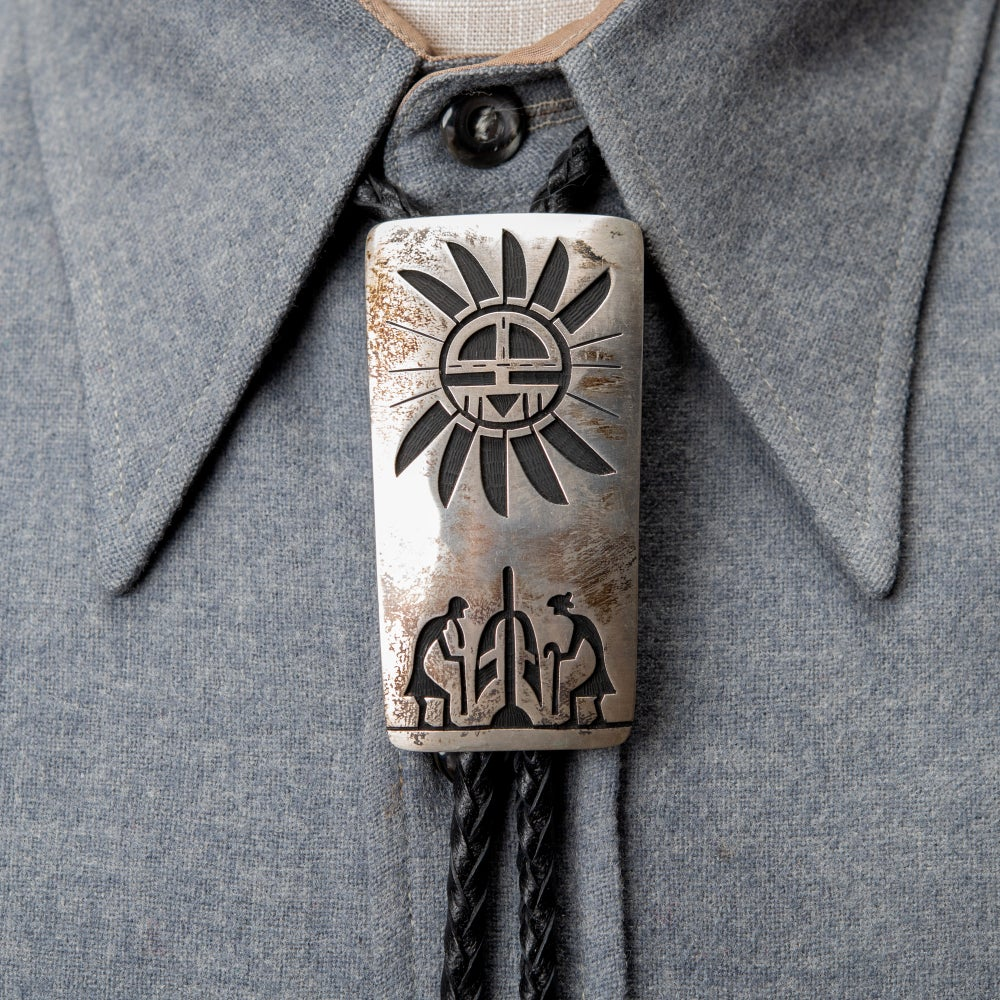 Image of Hopi Silversmith Edward Lomahongva Sterling Silver Overlay Bolo Tie with Corn and Hopi Sun Face
