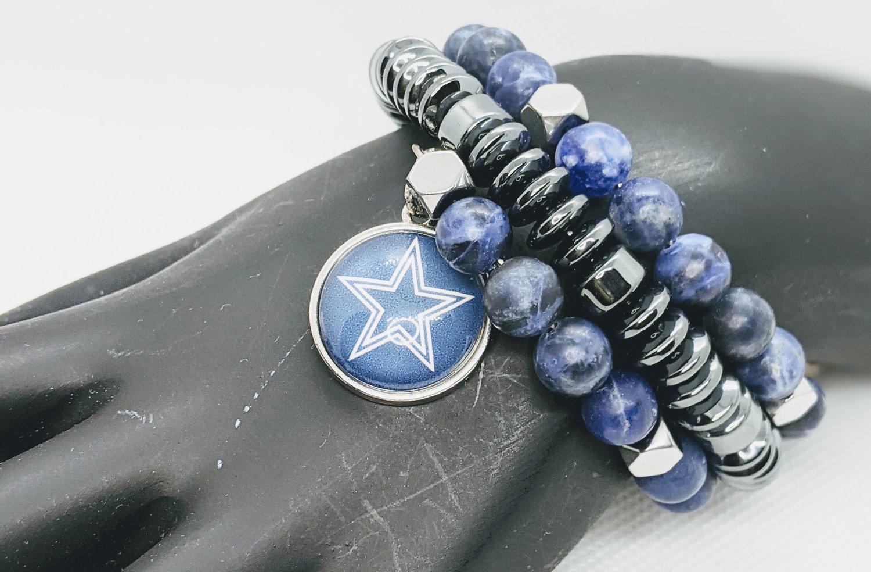 """Original """"Dallas Cowboys Blue Matte Lapis Lazuli & Hematite Wrap Bracelet"""""""