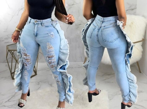 """Image of """"Ruffled"""" Side Accent Jeans"""