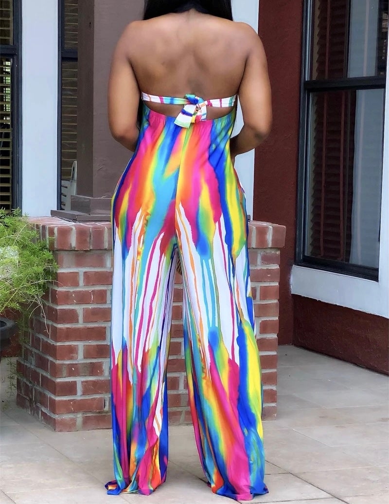 """Image of """"Abstract""""  Strapless Jumpsuit"""