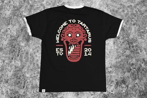 "Image of ""Welcome to Tartarus"" Black Ringer T-Shirt"