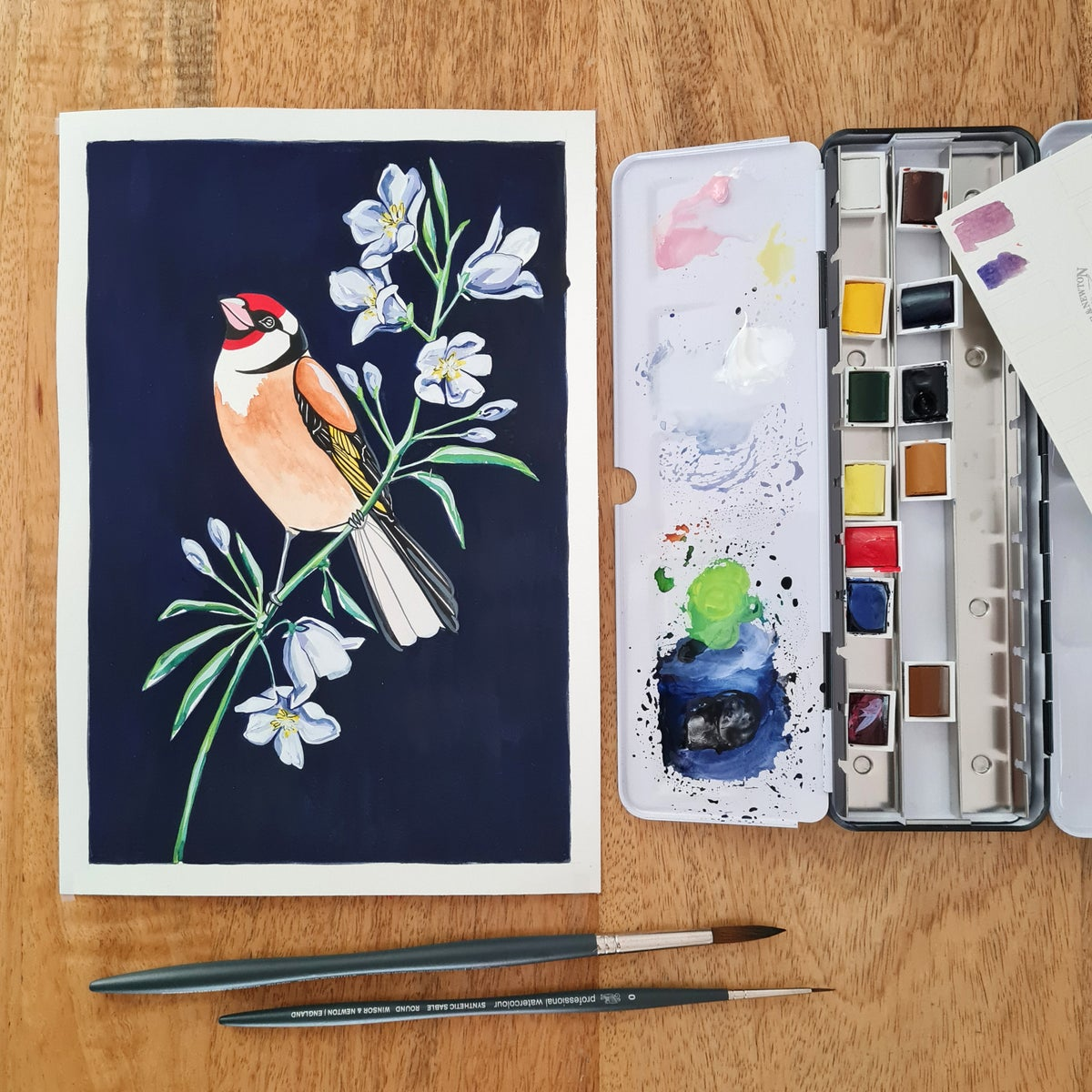 Image of Goldfinch and Bellflower II